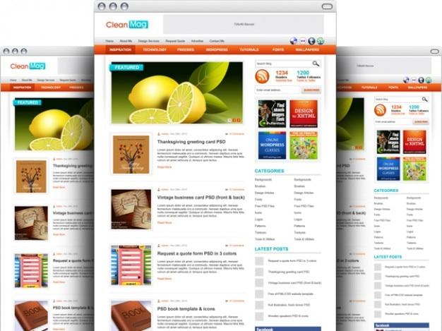 Wordpress tema del blog psd plantilla | Descargar PSD gratis