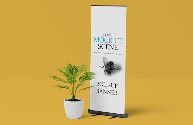 X-banner of roll up stand mockup Premium Psd