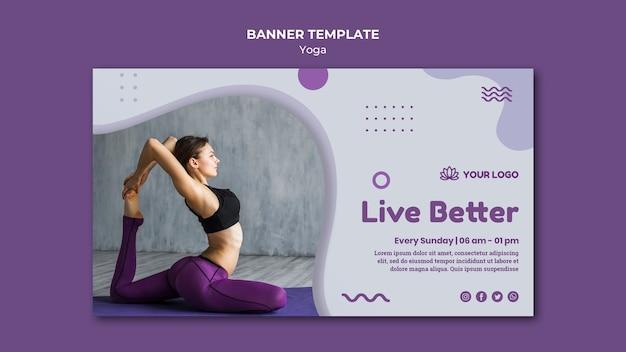 Yoga concept horizontale sjabloon voor spandoek Gratis Psd