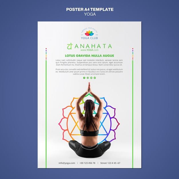 Yoga concept poster sjabloon Gratis Psd