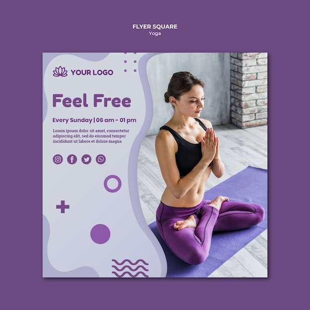 Yoga concept vierkante flyer-sjabloon Gratis Psd