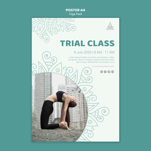 Yoga klas poster sjabloon concept Gratis Psd