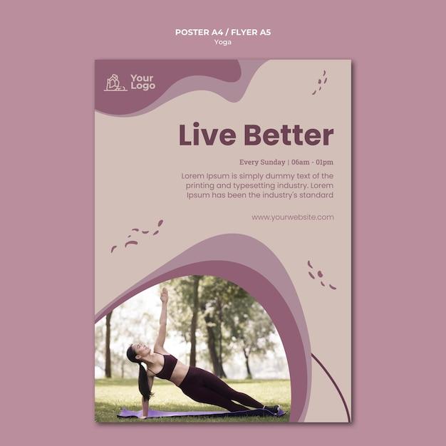 Yoga klasse folder sjabloon Gratis Psd