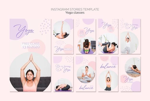 Yoga lessen instagram verhalenpakket Gratis Psd