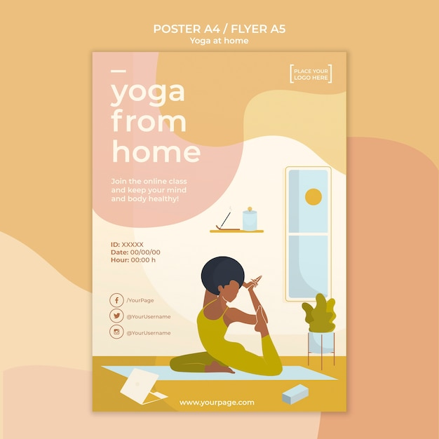 Yoga poster sjabloon Gratis Psd