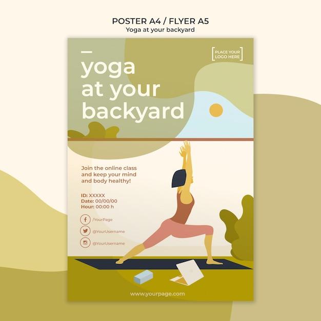 Yoga poster sjabloonontwerp Gratis Psd