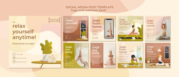 Yoga social media postsjabloon Gratis Psd
