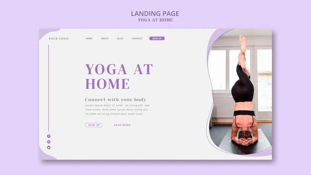Yoga thuis bestemmingspagina sjabloon Gratis Psd