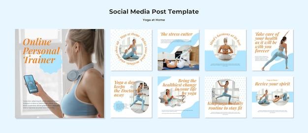 Yoga thuis op sociale media Gratis Psd