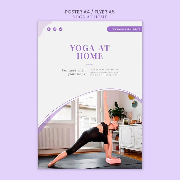 Yoga thuis poster sjabloon Gratis Psd