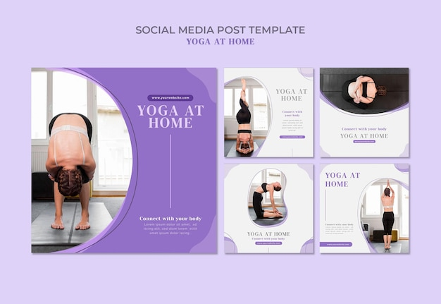 Yoga thuis social media posts-sjabloon Gratis Psd