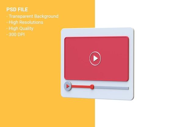 Youtube-videospeler 3d-schermontwerp of video-mediaspelerinterface Premium Psd