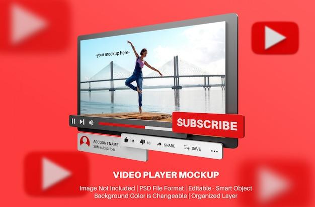 Youtube-videospeler mockup in 3d-stijl Premium Psd