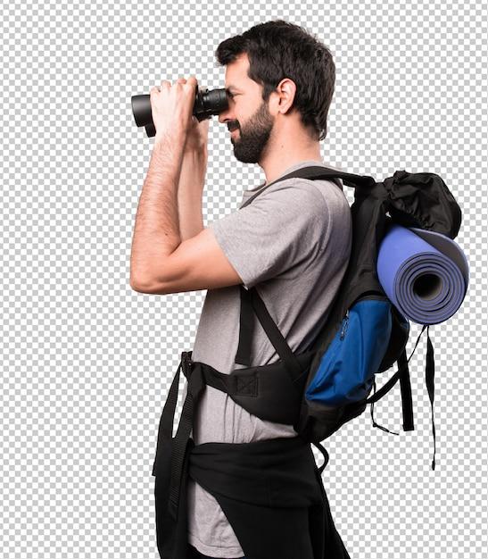 Zaino in spalla bello felice con il binocolo Psd Premium
