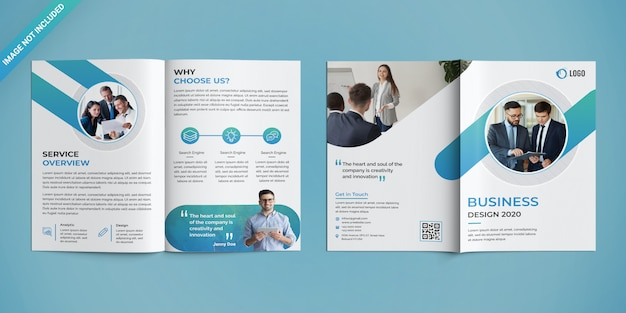 Zakelijk bifold brochure template Premium Psd