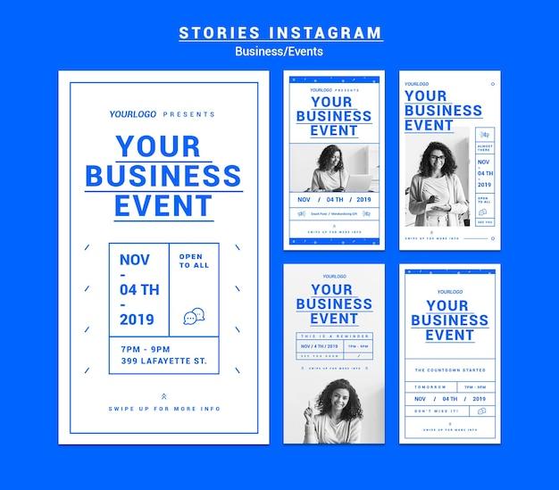 Zakelijk evenement verhalen instagram pack Gratis Psd
