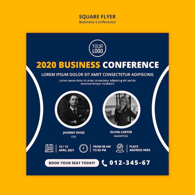 Zakelijke conferentie concept vierkante flyer-sjabloon Gratis Psd