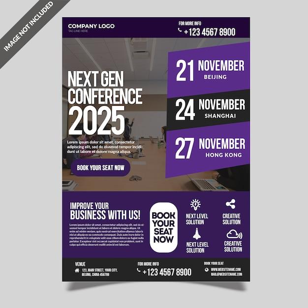 Zakelijke conferentie seminar evenement sjabloon folder Premium Psd