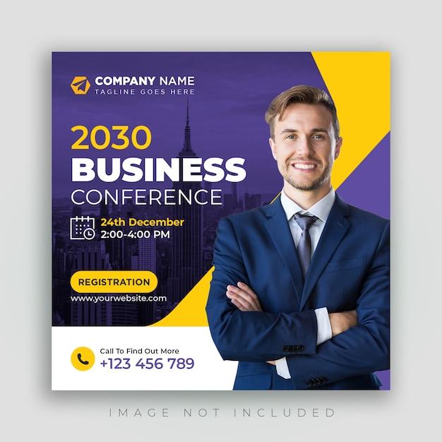 Zakelijke conferentie sociale media sjabloon voor spandoek vierkante flyer Premium Psd