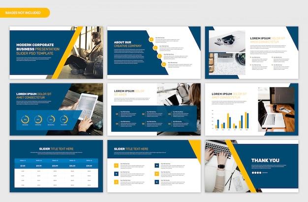 Zakelijke en projectoverzicht presentatiesjabloon Premium Psd