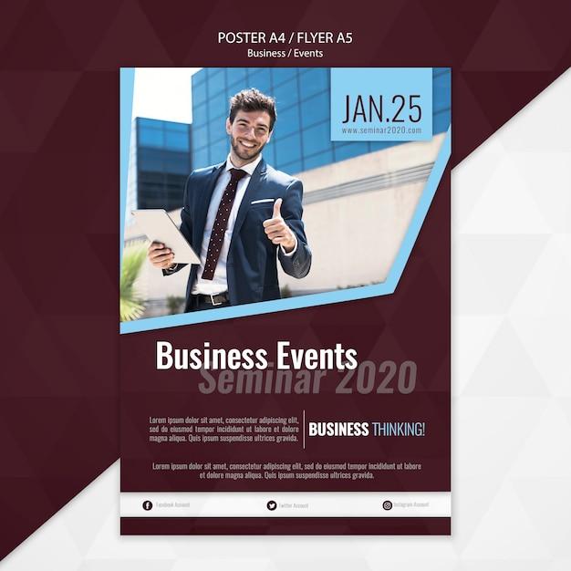 Zakelijke evenementen poster sjabloon Gratis Psd