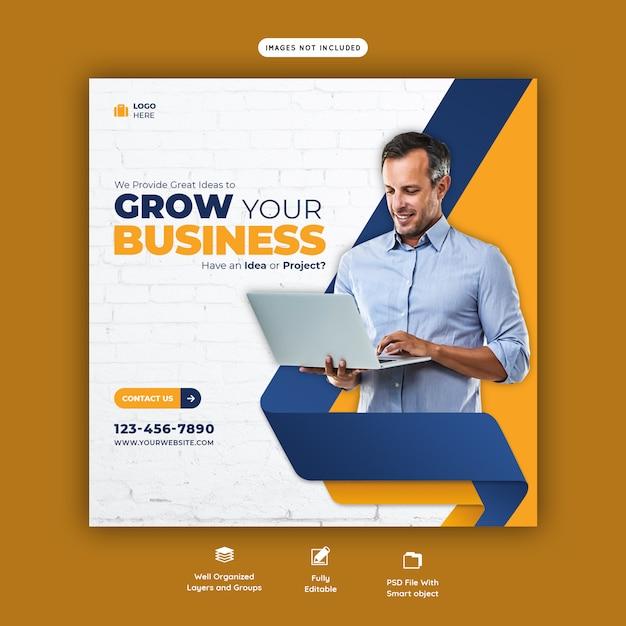 Zakelijke promotie en corporate social media-sjabloon voor spandoek Premium Psd