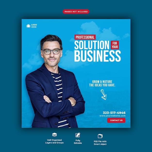 Zakelijke promotie en zakelijke sociale media-sjabloon voor spandoek Premium Psd