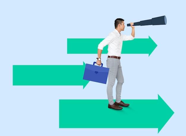 Zakenman op zoek naar een baan met behulp van een monoculaire Premium Psd