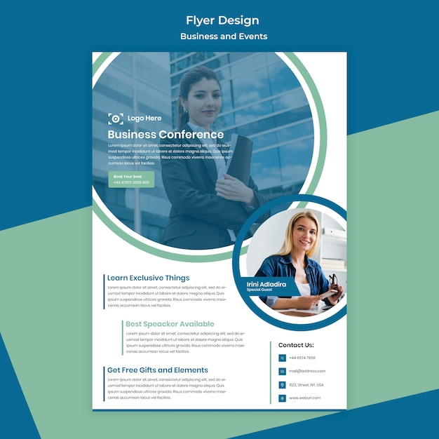 Zakenvrouw flyer ontwerp voor zakelijke evenement Gratis Psd