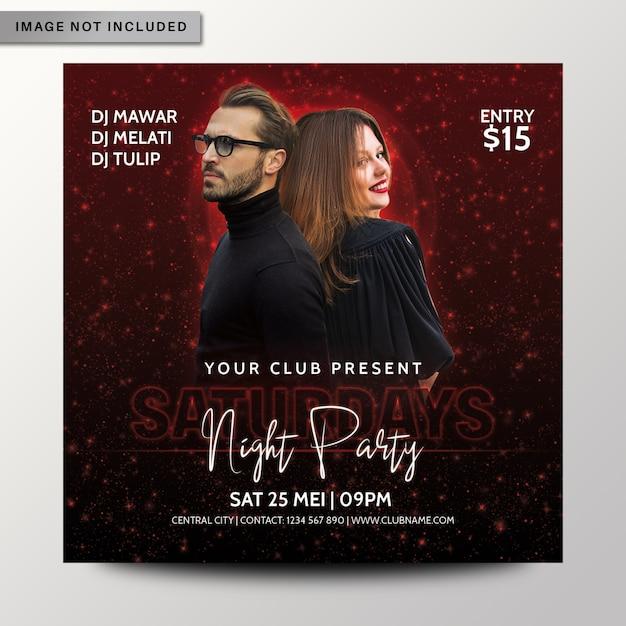 Zaterdagavond partij flyer of poster sjabloon Premium Psd