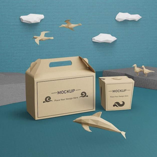 Zeeleven en kartonnen dozen met mock-up Premium Psd