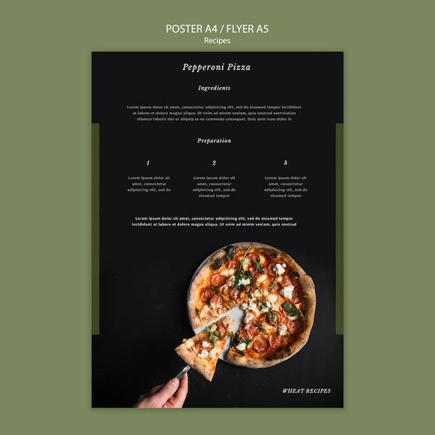 Zelfgemaakte pizza poster afdruksjabloon Gratis Psd