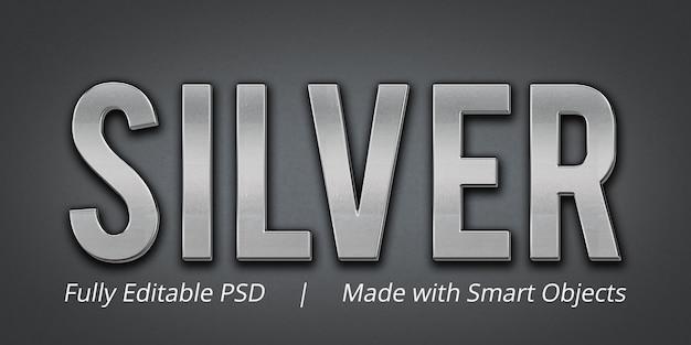 Zilveren bewerkbare tekststijleffect mockup Premium Psd