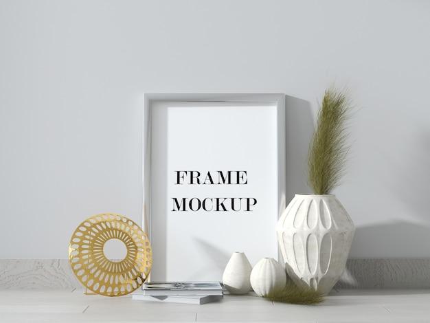 Zilveren fotolijstmodel in 3d-rendering Premium Psd