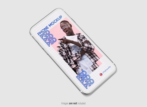 Zilveren telefoonmodel geïsoleerd Premium Psd