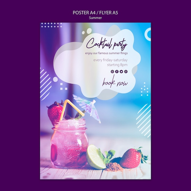 Zomer cocktail folder sjabloon met foto Premium Psd