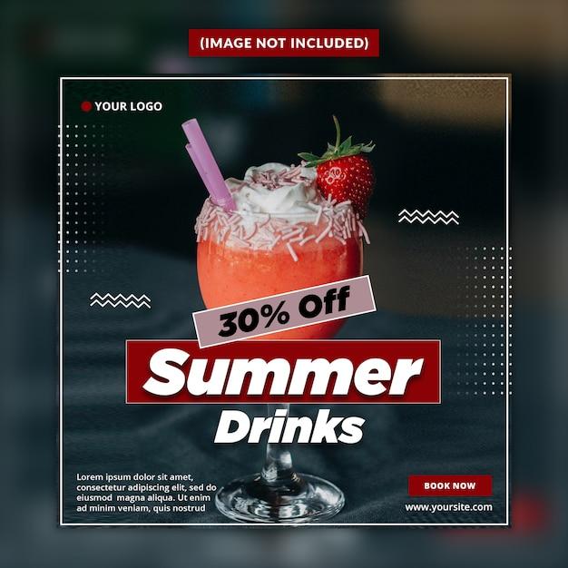 Zomer drankjes social media banner post sjabloon Premium Psd