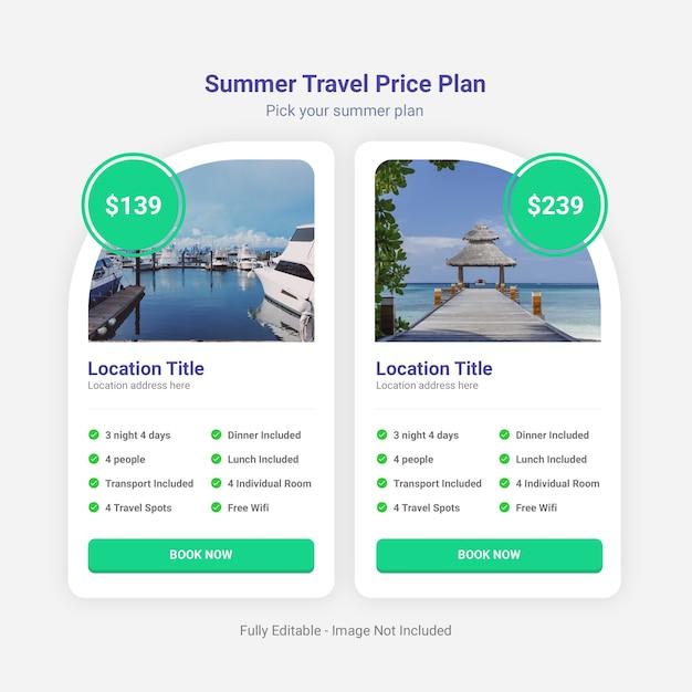 Zomer reizen prijsplan tabelsjabloon Premium Psd
