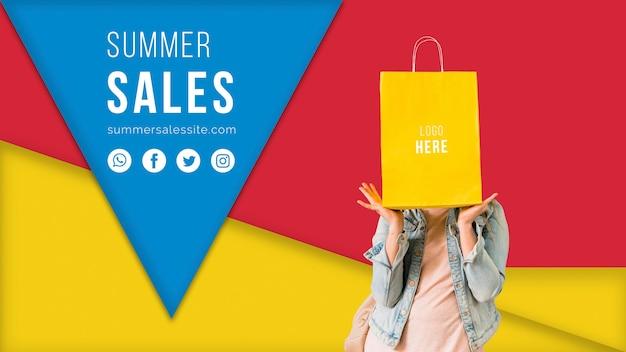 Zomer verkoopsjabloon banner met kleurrijke driehoekige vormen Gratis Psd