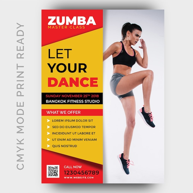 Zumba dance fitness gym flyer ontwerpsjabloon Premium Psd