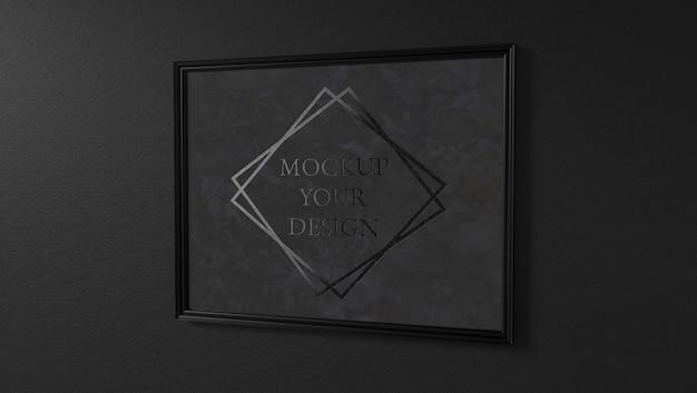 Zwart marmeren fotolijst logo mockup Premium Psd