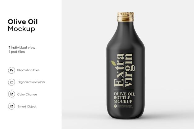 Zwart mat olijfolieflesmodel Premium Psd