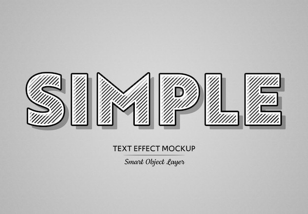 Zwart vet teksteffect met witte lijnen mockup Premium Psd