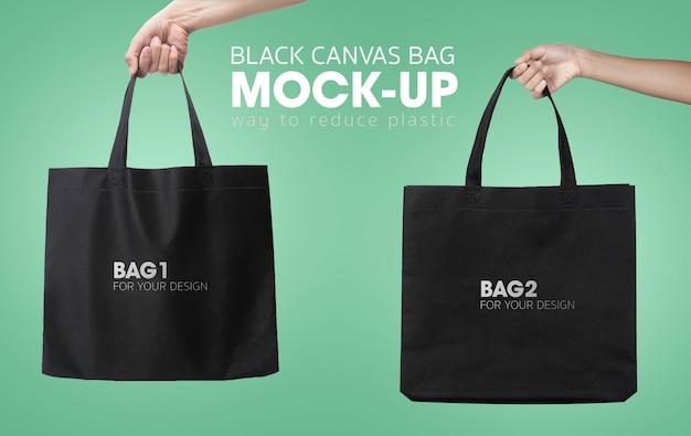 Zwarte boodschappentassen mockup Premium Psd