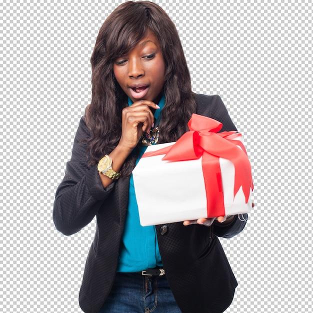 Zwarte die over een gift denkt Premium Psd