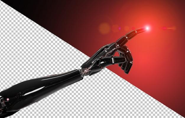 Zwarte en rode intelligente robot wijzende vinger Premium Psd