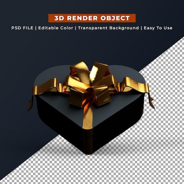 Zwarte hart vorm geschenkdoos 3d render Gratis Psd