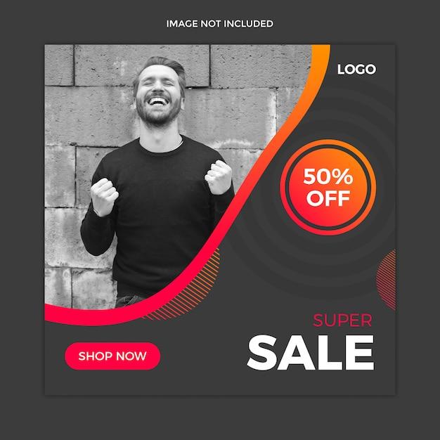 Zwarte instagram-post, vierkante banner of flyer-sjabloon Premium Psd