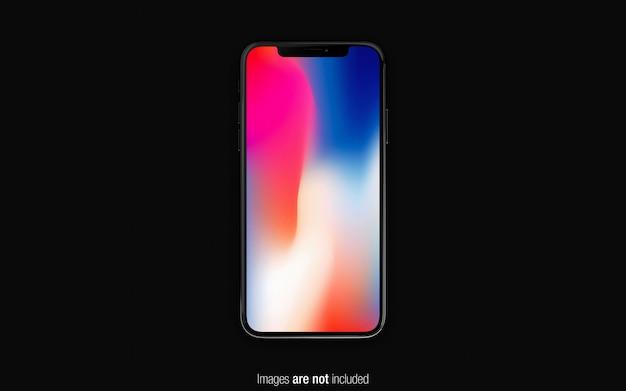 Zwarte iphone x mockup bovenaanzicht Premium Psd