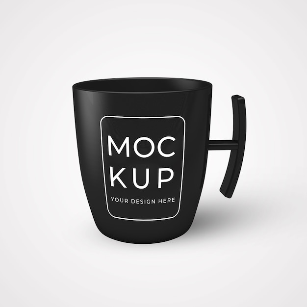 Zwarte koffiekopje op tafel mockup Premium Psd